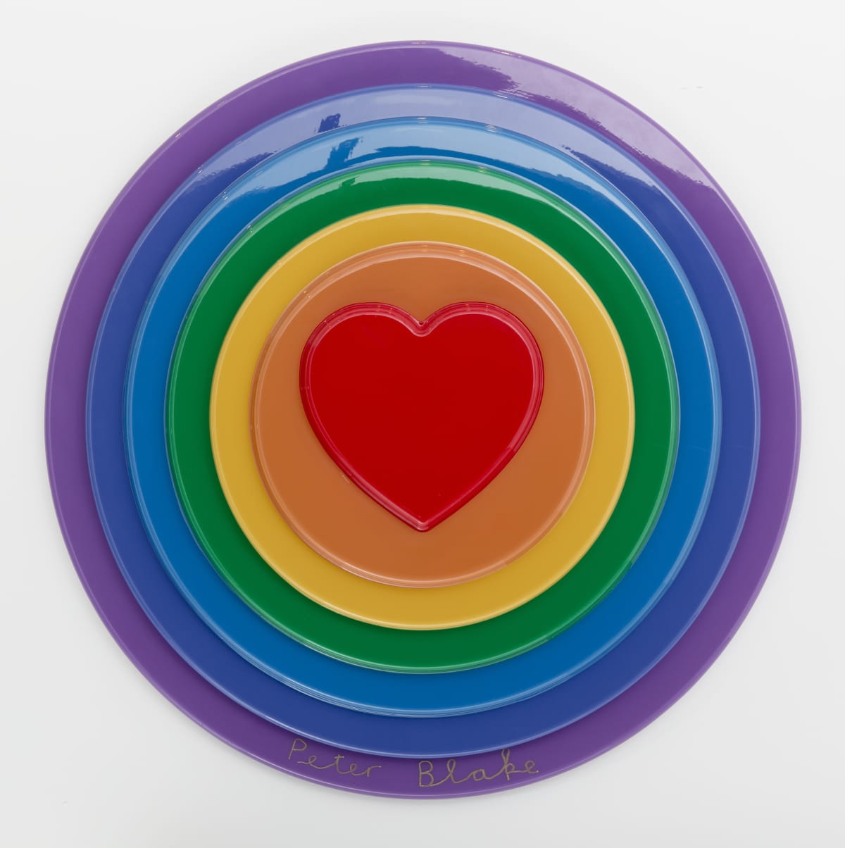 Peter Blake Rainbow Target, 2016 Vacuum formed plastic, paint 69 x 69 x 10 cm Edition of 100 Signed and numbered