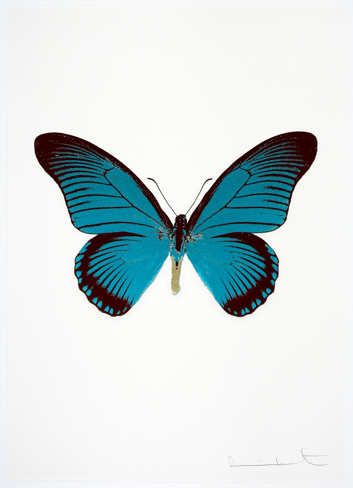 Damien Hirst The Souls IV -Topaz/Burgundy/Cool Gold Damien Hirst butterfly foil print for sale Damien Hirst print for sale , 2010 3 colour foil block on 300gsm Arches 88 archival paper. Signed and numbered. Published by Paul Stolper and Other Criteria 72 x 51cm OC7984 / 1418-7 Edition of 15