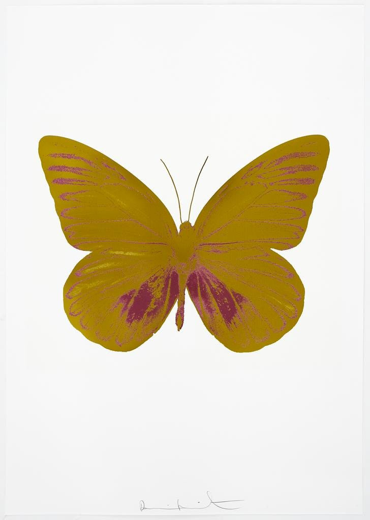 Damien Hirst The Souls I - Oriental Gold/Loganberry Pink, 2010 2 colour foil block on 300gsm Arches 88 archival paper. Signed and numbered. Published by Paul Stolper and Other Criteria 72 x 51cm OC7788 / 659-51 Edition of 15
