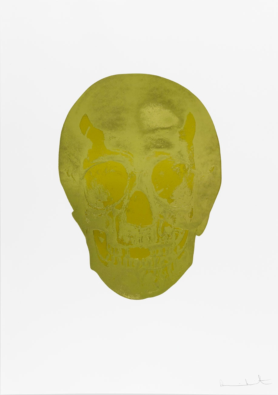 Damien Hirst Death Or Glory Grafix Gold/Oriental Gold Glorious Skull, 2011 2 colour foil block on 300gsm Arches 88 archival paper. Signed and numbered. Published by Paul Stolper and Other Criteria. White aluminium powder coated frame. 72 x 51 cm; Framed 76.8 x 55.8 cm OC8383 Edition of 2