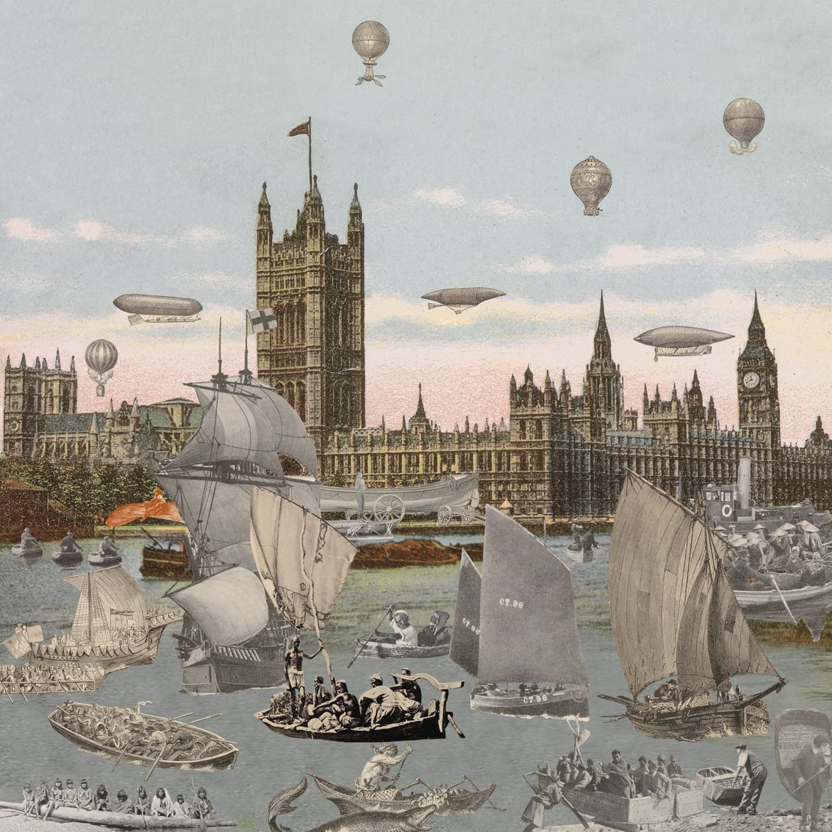 Peter Blake London- River Thames- Regatta, 2013 Inkjet and glaze on canvas Signed and numbered by the artist 128.8 x 130cm Edition of 8