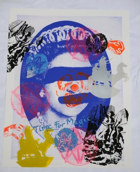 Jamie Reid Liberty (Blue), 2011 Inkjet base print on 310 gsm Hahnemuhle 'German Etching' Paper with acrylic screen print additions. Signed, numbered and titled by the artist. Sheet size 112 x 82.4 cm. Sheet size 44.1 x 32.4 in ed.8/10