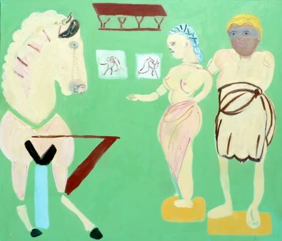 Georgia Hayes Getting Together in the British Museum, 2013 Oil on canvas. Signed and dated on verso 183 x 214 cm