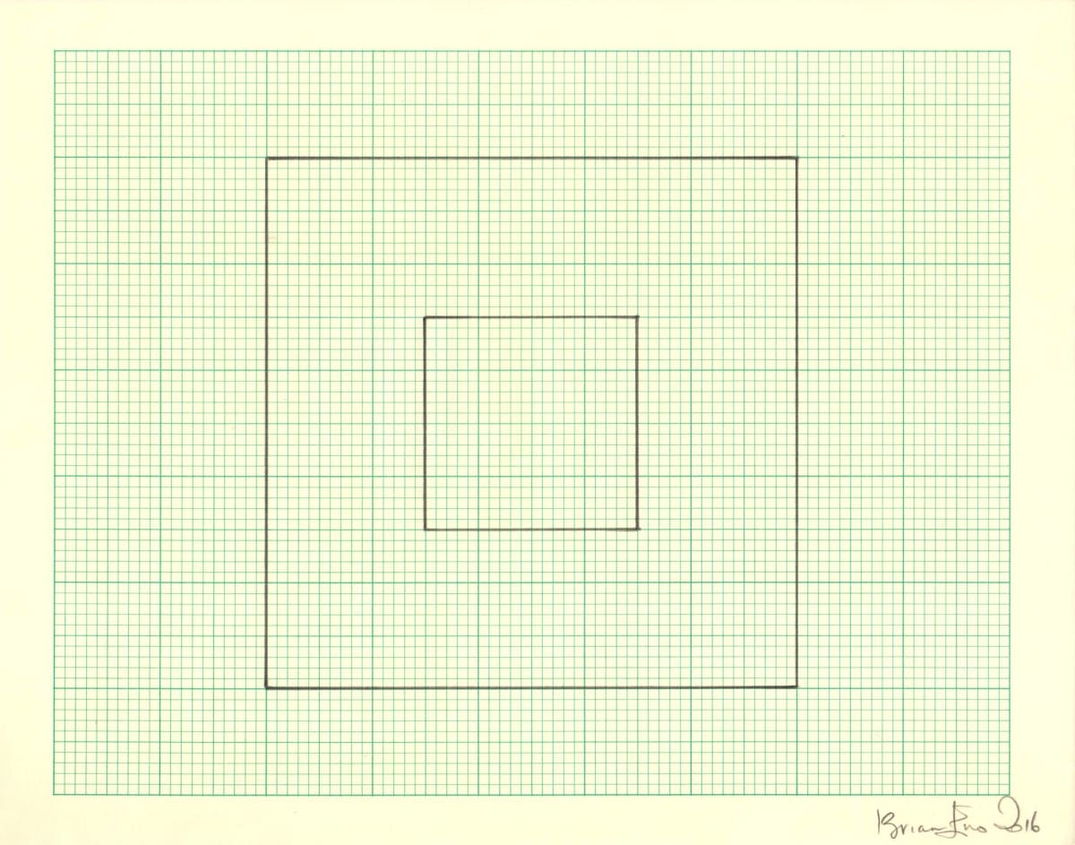 Brian Eno Untitled (Study for Light Music 3), 2016 Pencil on graph paper Signed and dated Sheet size: 20.5 x 26 cm / Framed size: 41 x 46 cm