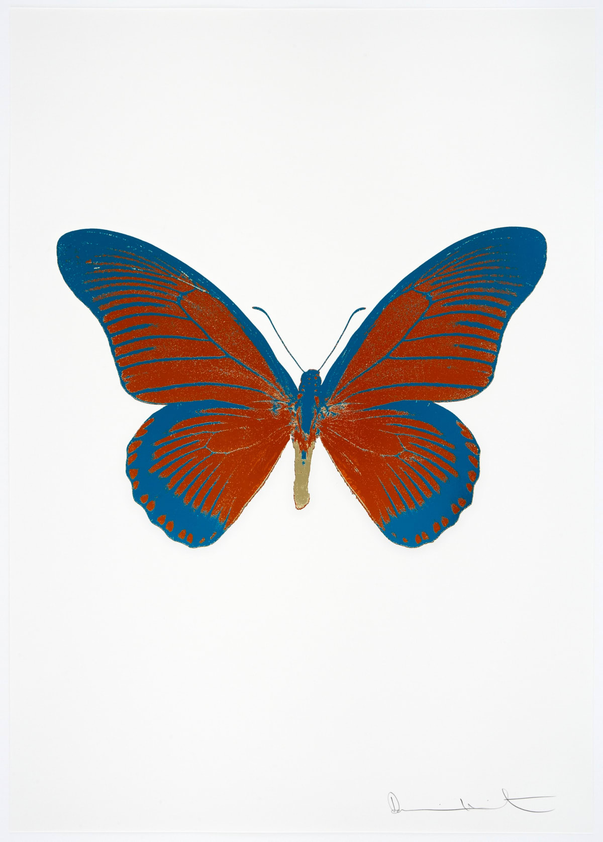 Damien Hirst The Souls IV - Prairie Copper/Turquoise/Cool Gold Damien Hirst butterfly foil print for sale Damien Hirst print for sale , 2010 3 colour foil block on 300gsm Arches 88 archival paper. Signed and numbered. Published by Paul Stolper and Other Criteria 72 x 51cm OC8052 / 1418-75 Edition of 15