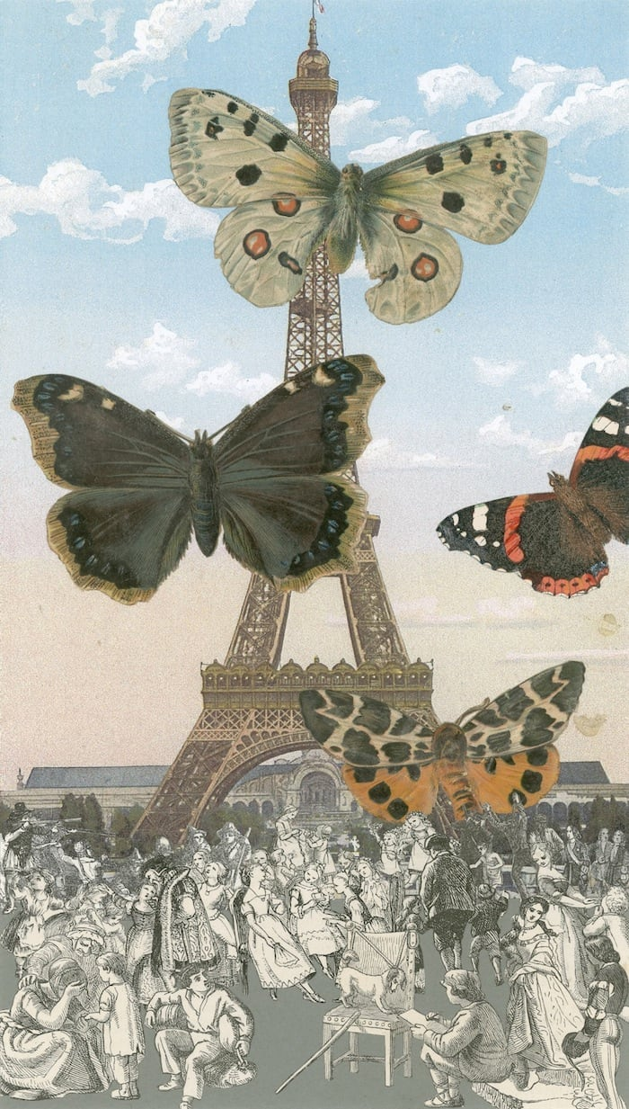 Peter Blake Paris- Butterflies I, 2013 Inkjet and glaze on canvas Signed and numbered by the artist 130 x 73.9 cm Edition of 10