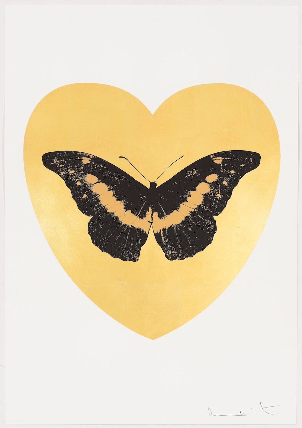 Damien Hirst I Love You - gold leaf, black, cool gold, 2015 Gold leaf and 2 colour foil block on Somerset Satin 410gsm. OC10329 100 x 70 cm Edition of 14 Signed and numbered