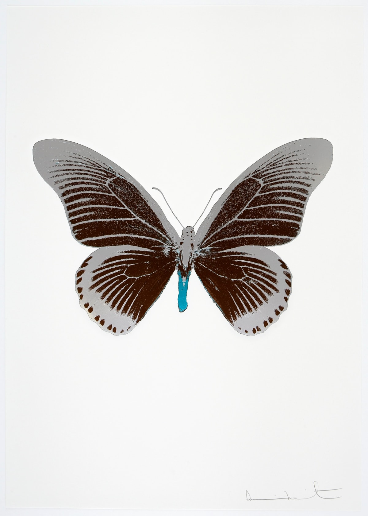 Damien Hirst The Souls IV - Chocolate/Silver Gloss/Topaz Damien Hirst butterfly foil print for sale Damien Hirst print for sale , 2010 3 colour foil block on 300gsm Arches 88 archival paper. Signed and numbered. Published by Paul Stolper and Other Criteria 72 x 51cm OC8018 / 1418-41 Edition of 15