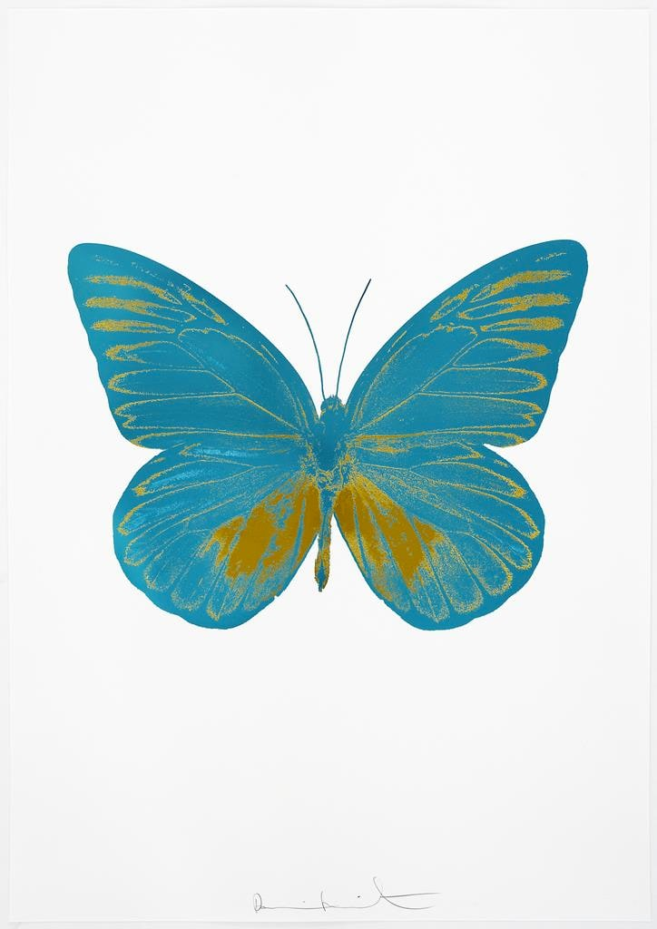 Damien Hirst The Souls I - Turquoise/Oriental Gold, 2010 2 colour foil block on 300gsm Arches 88 archival paper. Signed and numbered. Published by Paul Stolper and Other Criteria 72 x 51cm OC7799 / 659-62 Edition of 15