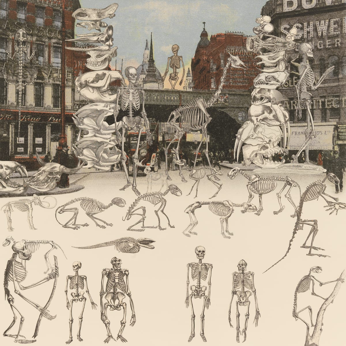 Peter Blake London- Ludgate Circus- Day of the Skeletons, 2012 Silkscreen print on 410gsm Somerset Tub Sized Signed and numbered by artist. 66.6. x 65.2 cm Edition of 100