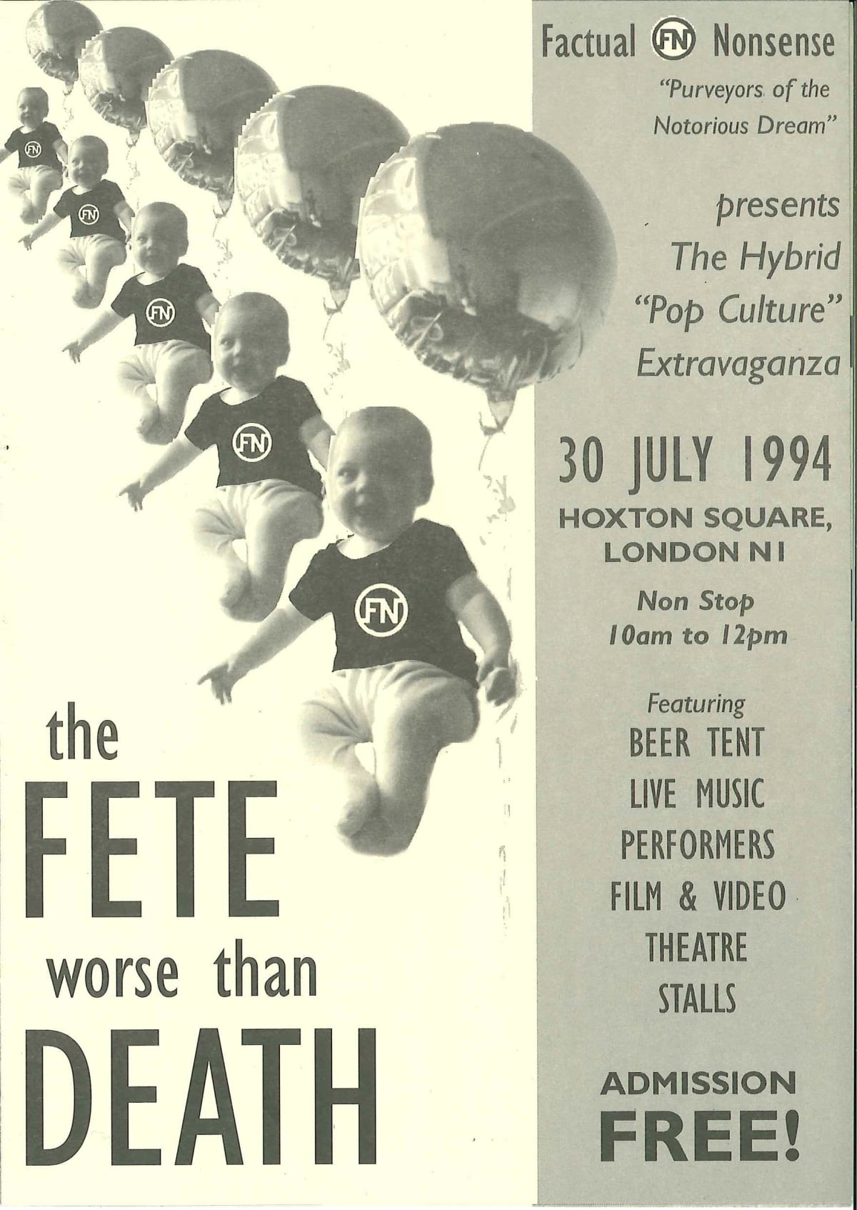 Factual Nonsense / Fete Worse Than Death pamphlet 1994 21 x 15 cm Edition of 3
