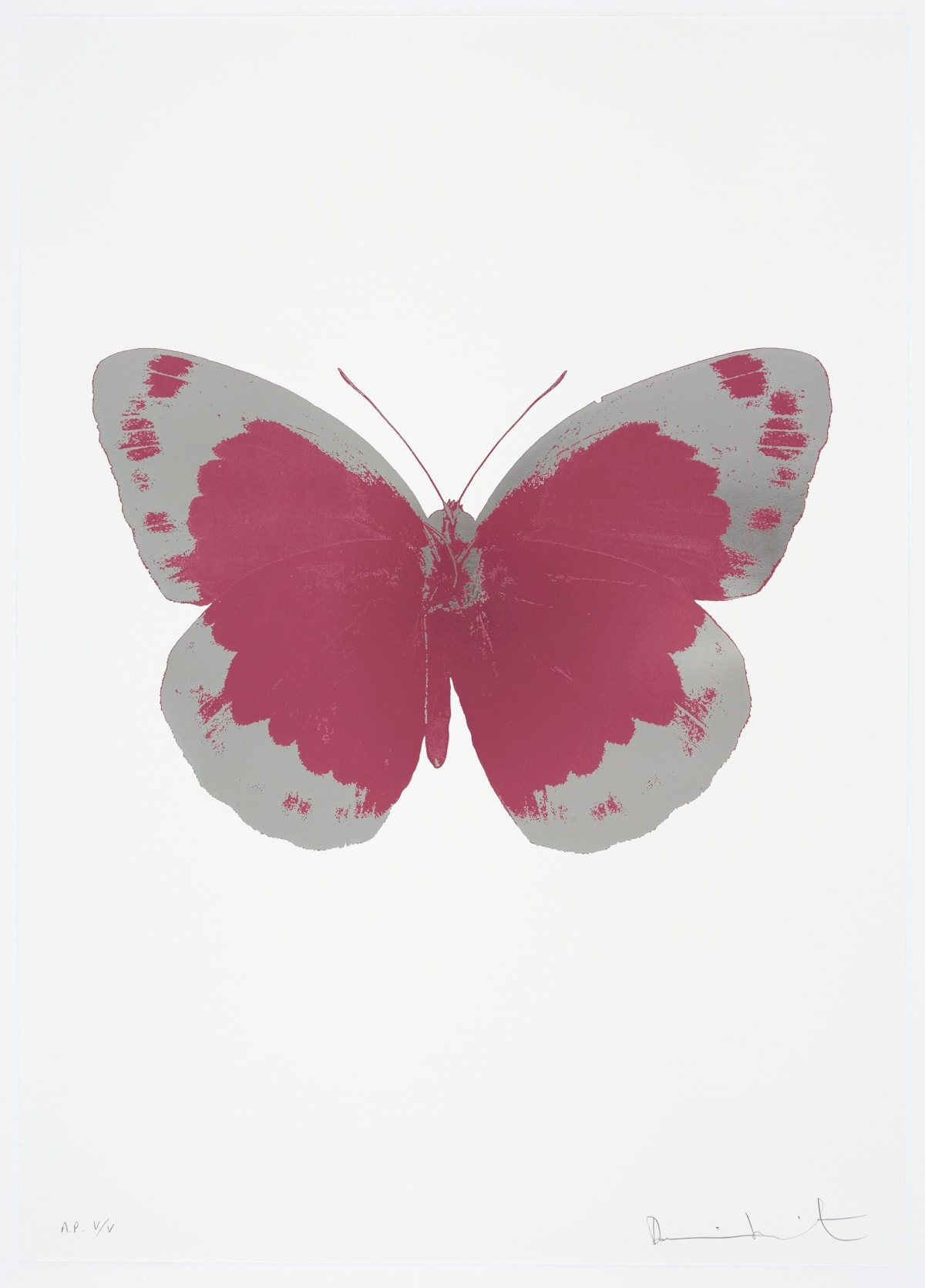 Damien Hirst The Souls II - Loganberry Pink/Silver Gloss/Blind Impression, 2010 2 colour foil block on 300gsm Arches 88 archival paper. Signed and numbered. Published by Paul Stolper and Other Criteria 72 x 51cm OC7825 / 658-8 Edition of 15