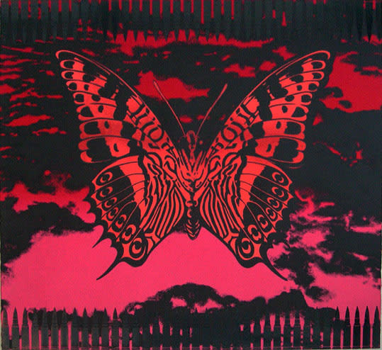 John Dove and Molly White Butterflies and Bullets (Red), 2011 Screenprint with pigment dyes, aqueous adhesive and metallic foil on heavyweight Somerset Satin. Edition of 30 Sheet Size: 76 X 73 cm Sheet Size 29.9 X 28.7 in Edition of 30