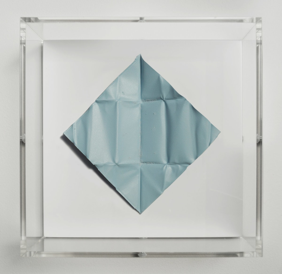 Mat Collishaw The Release - Azure Blue Light, 2018 Diamond dust, folded aluminium, wood, acrylic, paint FRAMED 18.5 x 18.5 x 6.5 cm Edition of 10 Signed and numbered