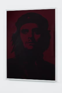 Gavin Turk Red Che, 2009 screen print on glass, vinyl ink and mirror ink on glass in aluminium frame 60 x 45 cm 23.6 x 17.7 in ed.AP 1/2