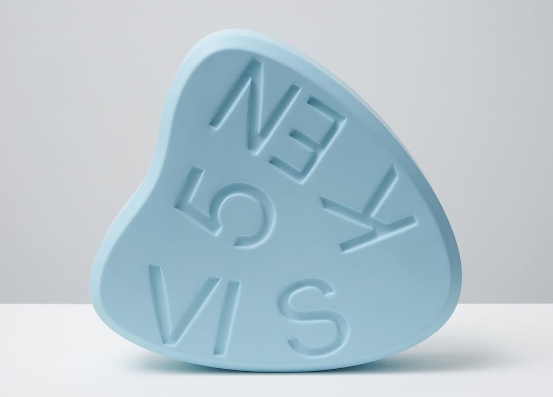 Damien Hirst VISKEN 5 (Baby blue) Polyurethane resin with ink pigment. 2014. Edition of 30. Numbered, signed and dated in the cast. Published by Paul Stolper and Other Criteria. OC10055 / DHS18300 H 30 x W 29 x D 7.5 cm H 11.8 x W 11.4 x D Edition of 30