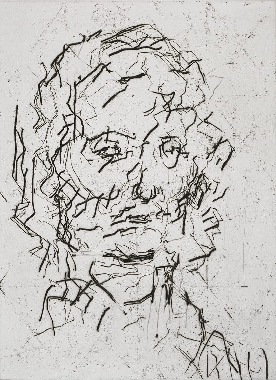Frank Auerbach Jake, 2006 Etching and aquatint with engraving Sheet size: 63 x 50 cm / 24.8 x 19.7 in Framed size: 72.5 x 60 cm / 28.5 x 23.5 in 39/40 Signed, numbered and titled