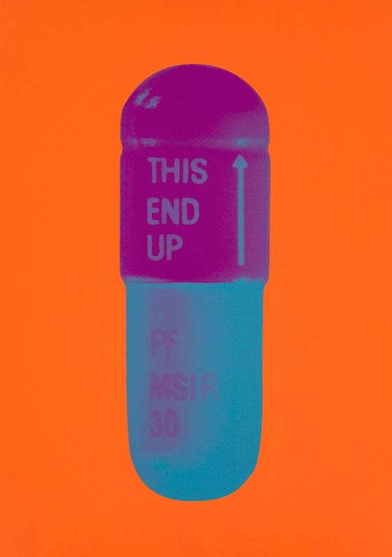 Damien Hirst The Cure - Bright Orange/Orchid/Air Force Blue, 2014 Silkscreen on Somerset Tub Sized 410gsm. Signed and numbered. Published by Paul Stolper and Other Criteria. 72 x 51 cm OC10232 / DHP18624 Edition of 15