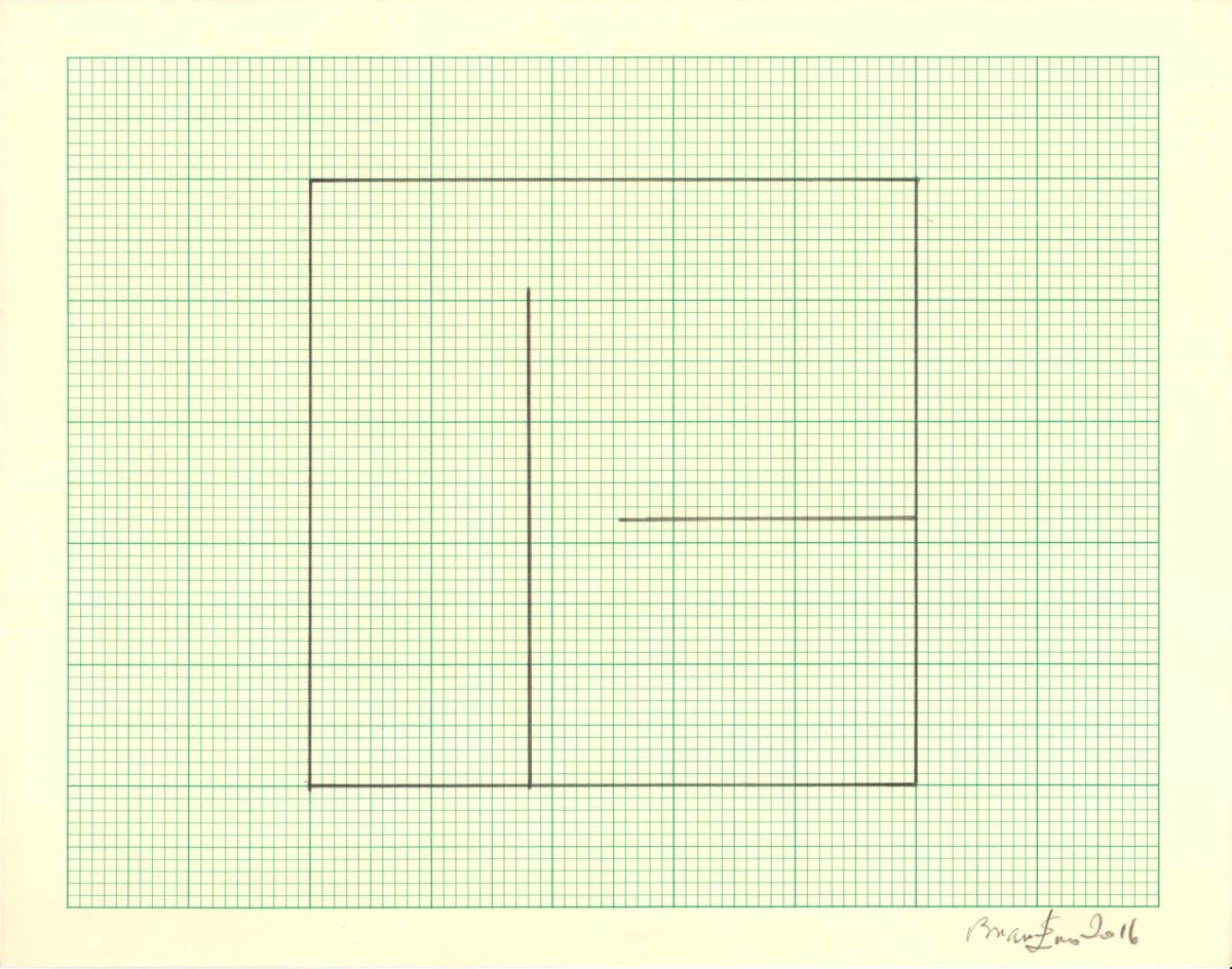 Brian Eno Untitled (Study for Light Music 2), 2016 Pencil on graph paper Signed and dated Sheet size: 20.5 x 26 cm / Framed size: 41 x 46 cm