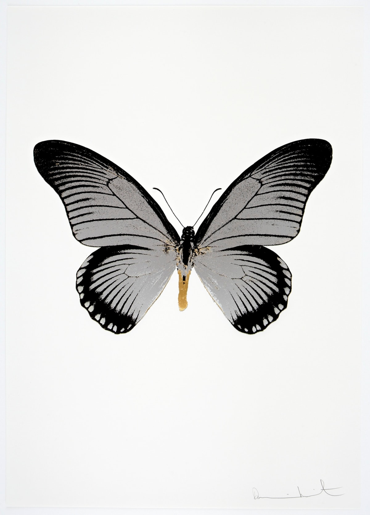 Damien Hirst The Souls IV - Silver Gloss/Raven Black/African Gold Damien Hirst butterfly foil print for sale Damien Hirst print for sale , 2010 3 colour foil block on 300gsm Arches 88 archival paper. Signed and numbered. Published by Paul Stolper and Other Criteria 72 x 51cm OC8033 / 1418-56 Edition of 15