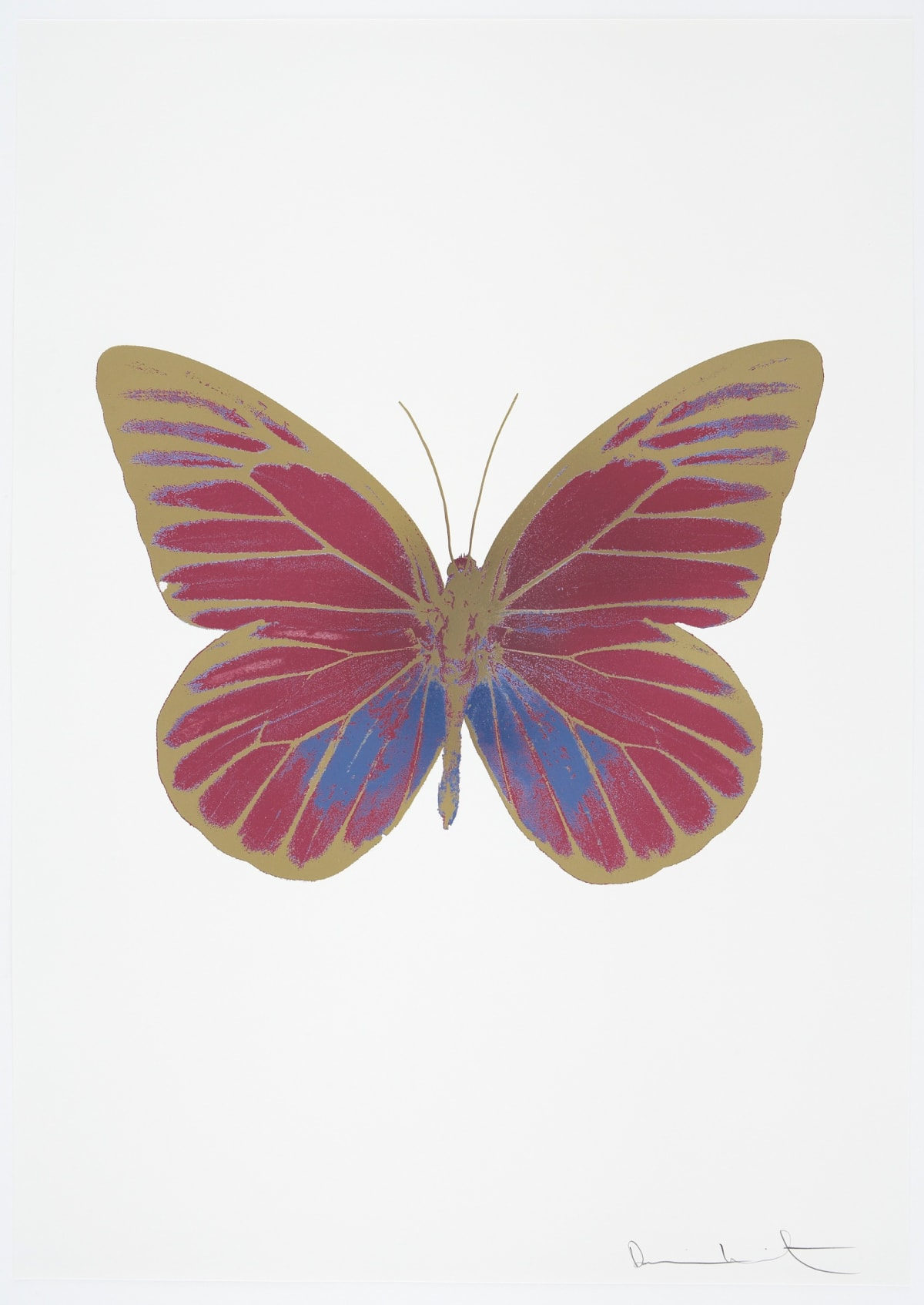 Damien Hirst The Souls I - Loganberry Pink/Cornflower Blue/Cool Gold, 2010 3 colour foil block on 300gsm Arches 88 archival paper. Signed and numbered. Published by Paul Stolper and Other Criteria 72 x 51cm OC7769 / 659-32 Edition of 15