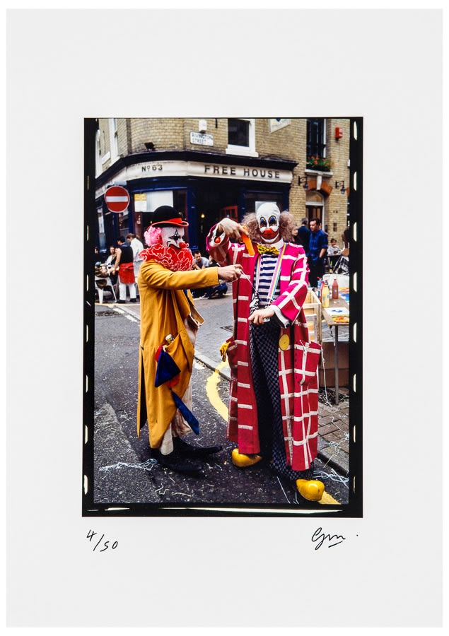 Guy Moberly Damien Hirst and Angus Fairhurst at the Fete Worse than Death dressed as Clowns., 2012 Digital print on Hahnemühle Fine Art Baryta. Signed and numbered by the artist. 42 x 30 cm Edition of 50