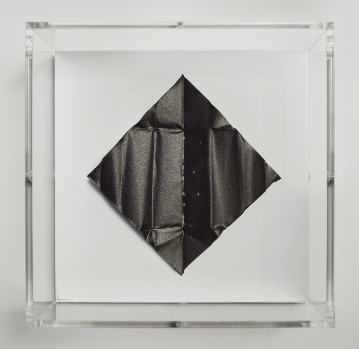 Mat Collishaw The Release - Deep Black, 2018 Diamond dust, folded aluminium, wood, acrylic, paint FRAMED 18.5 x 18.5 x 6.5 cm Edition of 10 Signed and numbered