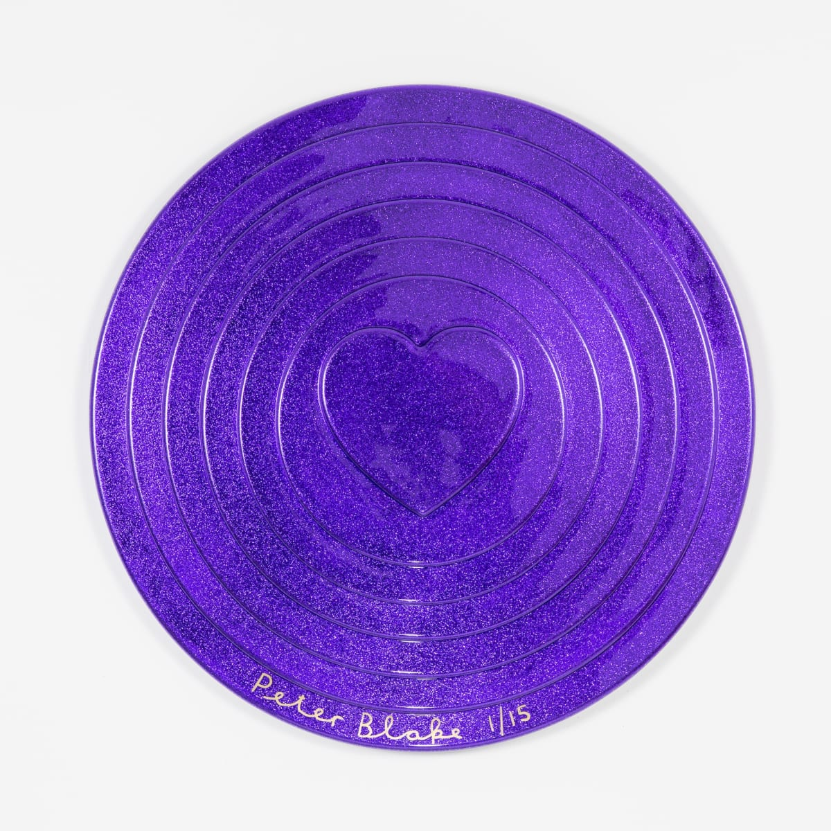Peter Blake Purple Target (metal flake), 2017 Vacuum formed plastic, paint 69 x 69 x 10 cm Edition of 15 Signed and numbered