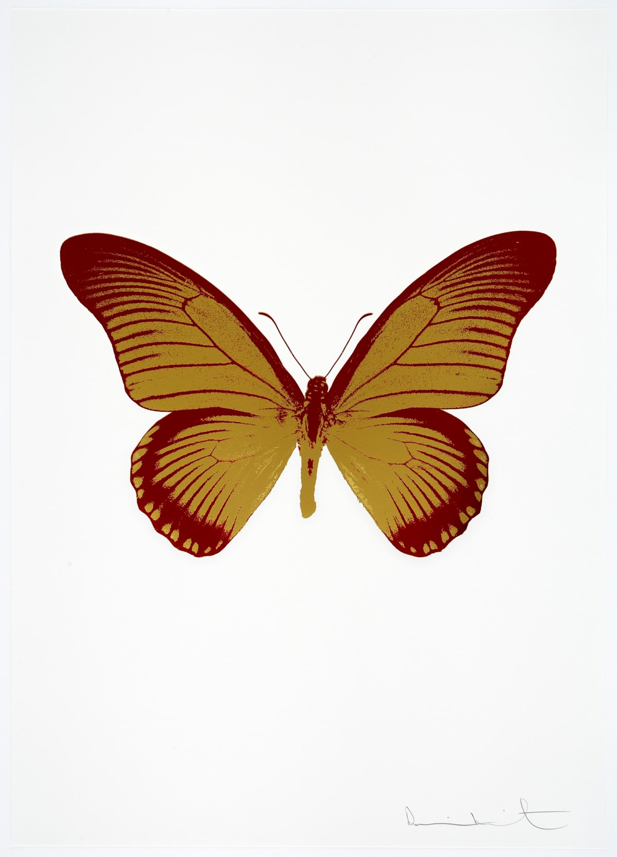 Damien Hirst The Souls IV - Oriental Gold/Chilli Red, 2010 2 colour foil block on 300gsm Arches 88 archival paper. Signed and numbered. Published by Paul Stolper and Other Criteria 72 x 51cm OC7995 / 1418-18 Edition of 15