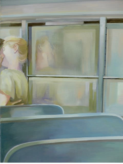 Grace O'Connor Kiss me on the bus, 2016 Oil on canvas. Signed on verso 25.5 x 30.5 cm
