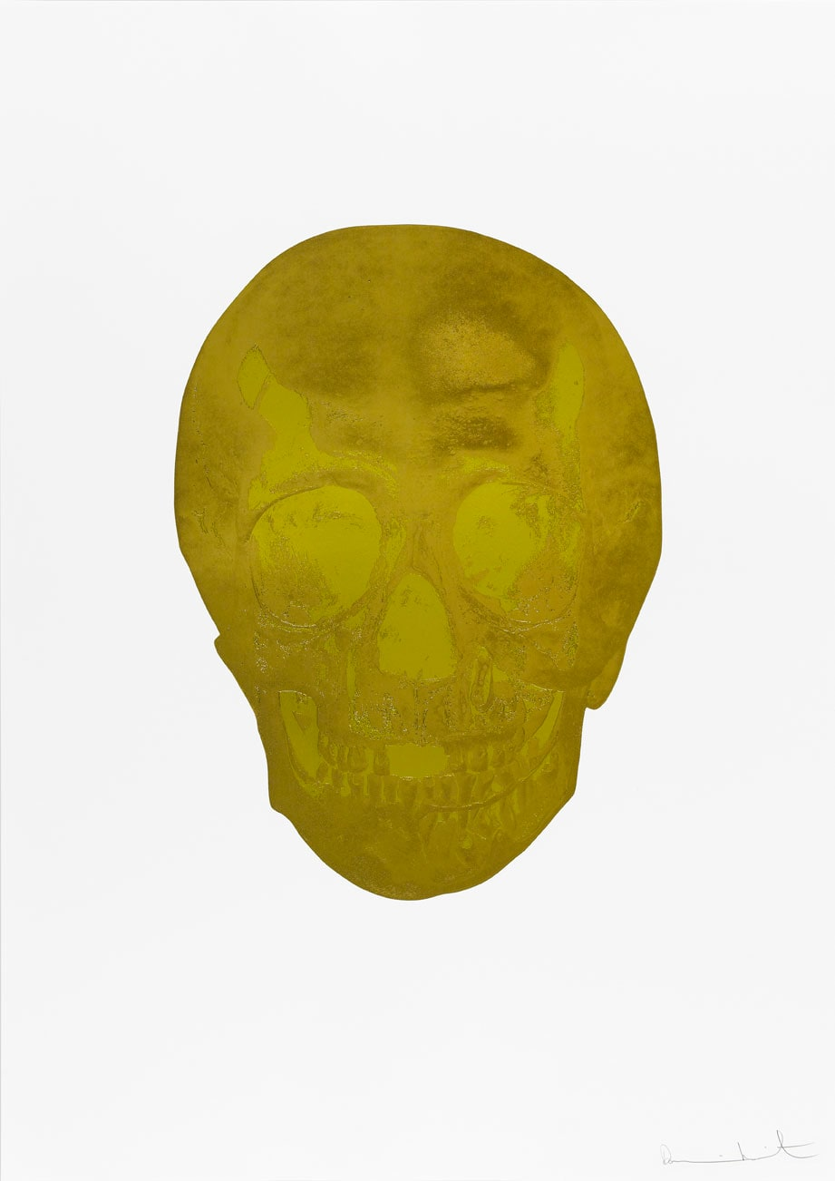 Damien Hirst Death Or Glory African Gold/Oriental Gold Glorious Skull, 2011 2 colour foil block on 300gsm Arches 88 archival paper. Signed and numbered. Published by Paul Stolper and Other Criteria. White aluminium powder coated frame. 72 x 51 cm; Framed 76.8 x 55.8 cm OC8376 Edition of 2