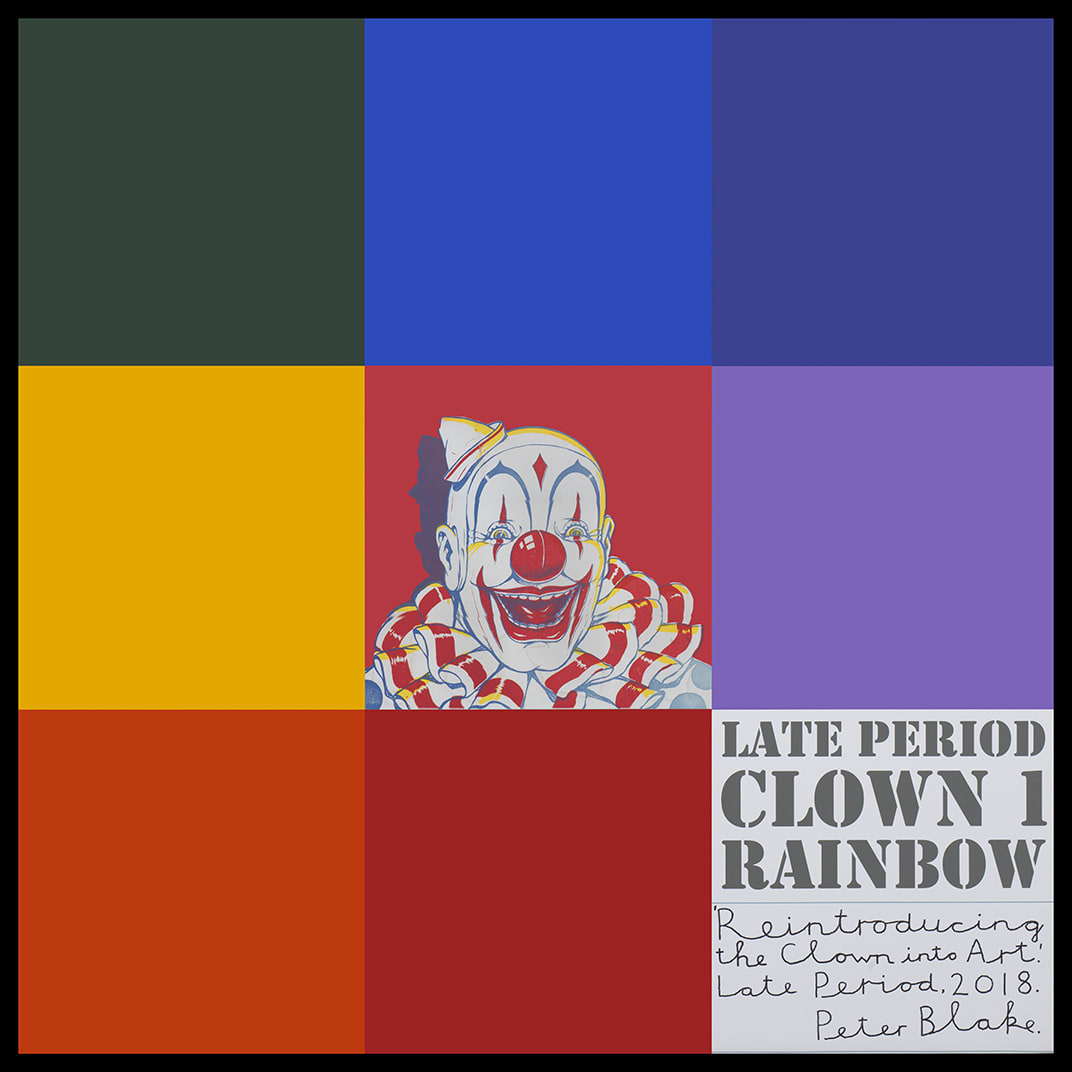 Peter Blake Late Period Clown 1: Rainbow, 2018 Acrylic, enamel, inkjet print on wood Signed, titled and dated 94.3 x 94 cm