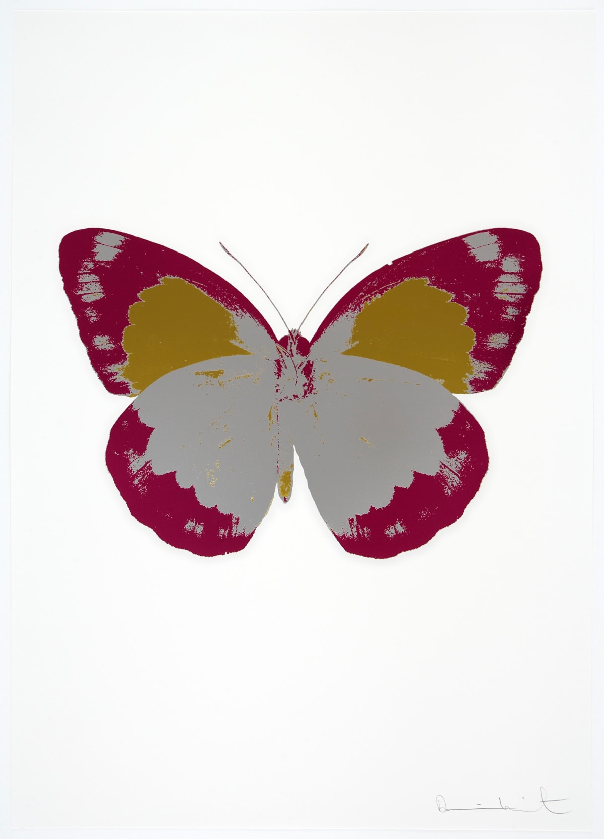 Damien Hirst The Souls II - Silver Gloss/Fuchsia Pink/Oriental Gold, 2010 3 colour foil block on 300gsm Arches 88 archival paper. Signed and numbered. Published by Paul Stolper and Other Criteria 72 x 51cm OC7880 / 658-63 Edition of 15