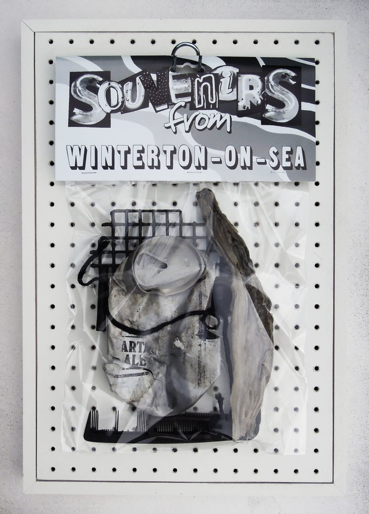 John Dove and Molly White Souvenir No.3 (North Sea Salvage), 2020 Plastic and rubbish salvaged from the North sea, board, wood, cellophane, acrylic paint 44.7 x 30.5 x 11.3 cm Signed and dated on verso
