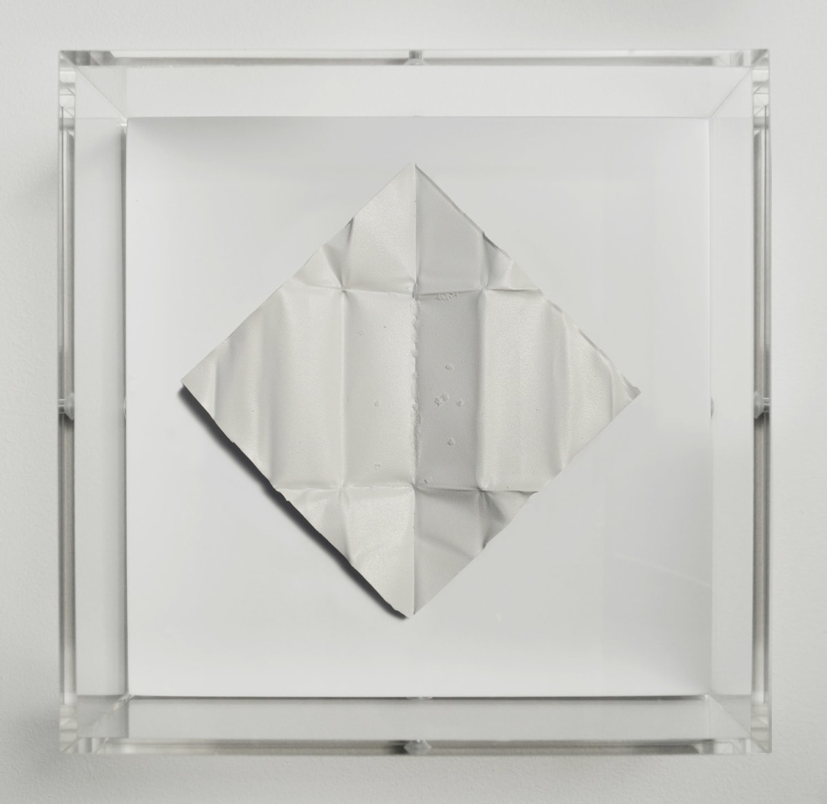 Mat Collishaw The Release - Signal White, 2018 Diamond dust, folded aluminium, wood, acrylic, paint FRAMED 18.5 x 18.5 x 6.5 cm Edition of 10 Signed and numbered