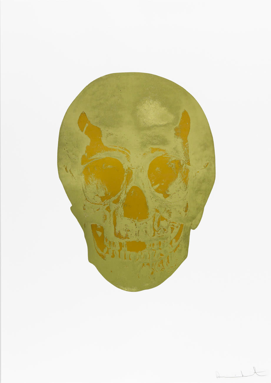 Damien Hirst Death Or Glory Cool Gold/European Gold Glorious Skull, 2011 2 colour foil block on 300gsm Arches 88 archival paper. Signed and numbered. Published by Paul Stolper and Other Criteria. White aluminium powder coated frame. 72 x 51 cm; Framed 76.8 x 55.8 cm OC8369 Edition of 2