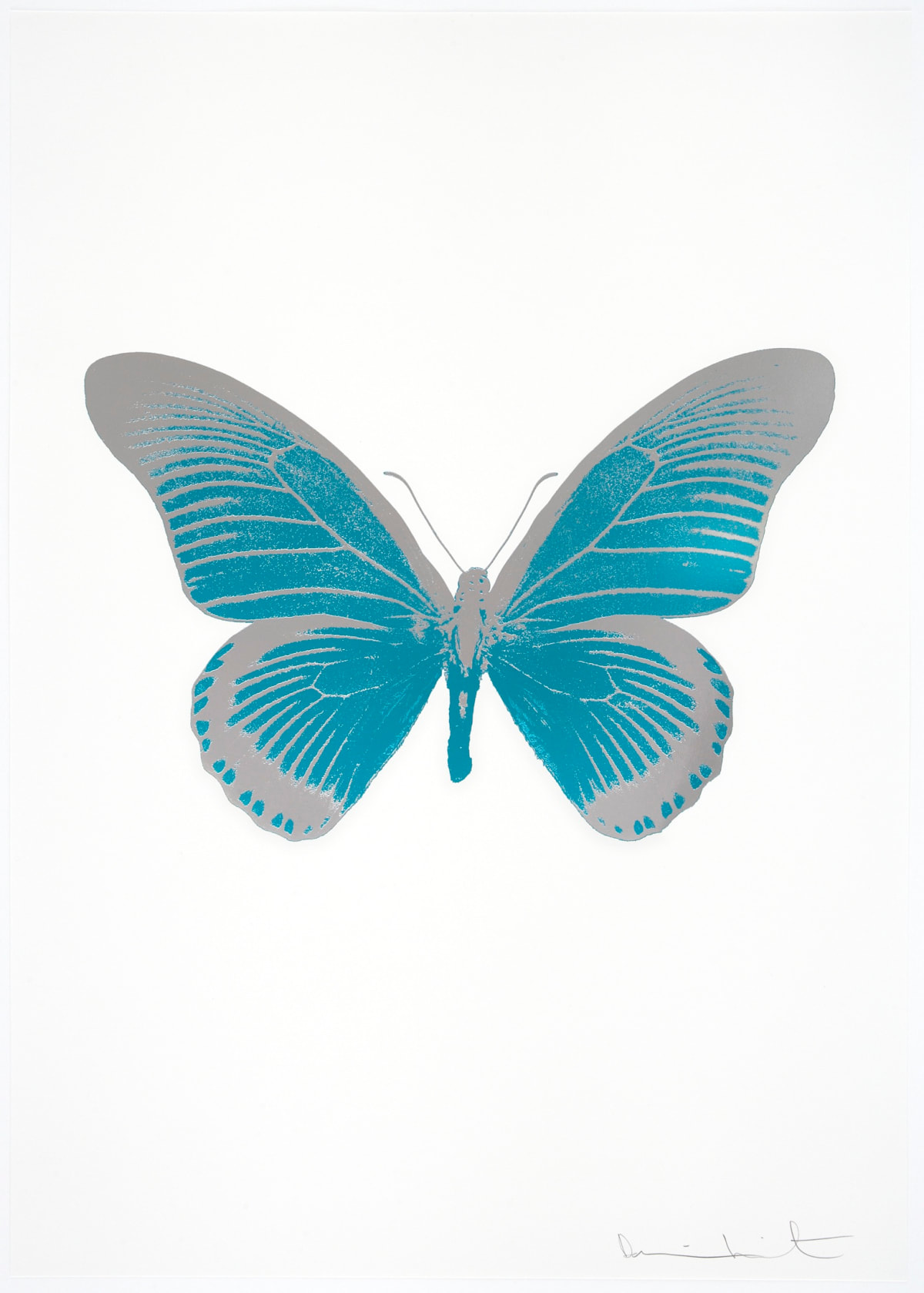 Damien Hirst The Souls IV - Topaz/Silver Gloss Damien Hirst butterfly foil print for sale Damien Hirst print for sale , 2010 2 colour foil block on 300gsm Arches 88 archival paper. Signed and numbered. Published by Paul Stolper and Other Criteria 72 x 51cm OC7996 / 1418-19 Edition of 15