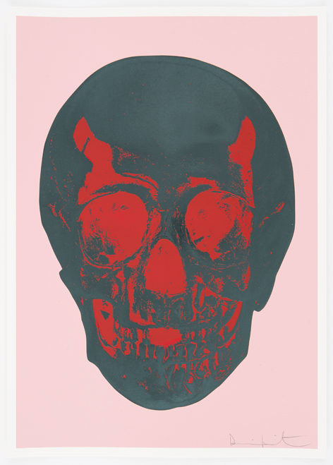 Damien Hirst Candy Floss Pink Racing Green Pigment Red Pop Skull, 2012 Silkscreen,glaze and foilblock on 410gsm Somerset Satin. Signed and numbered. Published by Paul Stolper and Other Criteria. OC9410 52.2. x 37 cm Edition of 50
