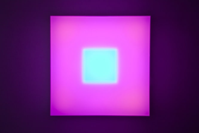 Brian Eno Small World, 2016 Light box: LED lights, perspex, wood, usb stick. Exhibited:Light Music 29.04-28.05.2016 Paul Stolper Gallery, London 65 x 65 x 19 cm
