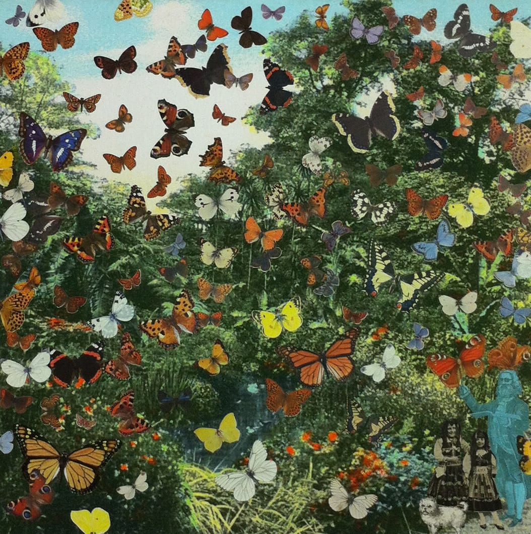 Peter Blake London ‐ Hyde Park ‐Positively the Last Appearance of the Butterfly Man, 2013 Inkjet and glaze on canvas Signed and numbered by the artist 128.8 x 130cm Edition of 8