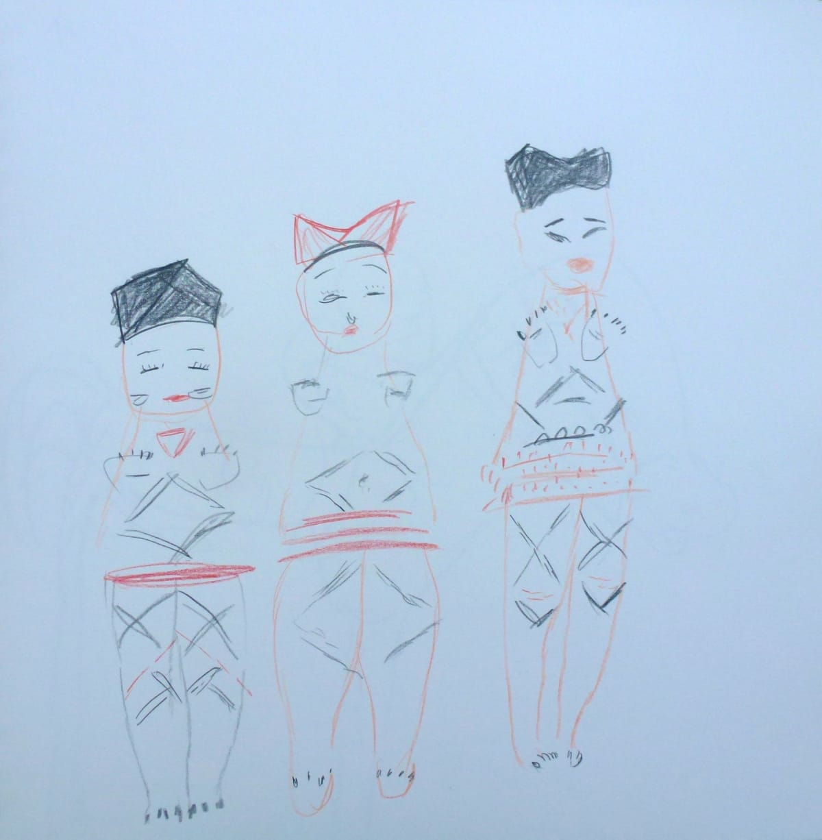 Georgia Hayes Girls in Paris (Branly Museum), 2013 Pencil and crayon on paper Paper size: 30 x 29 cm