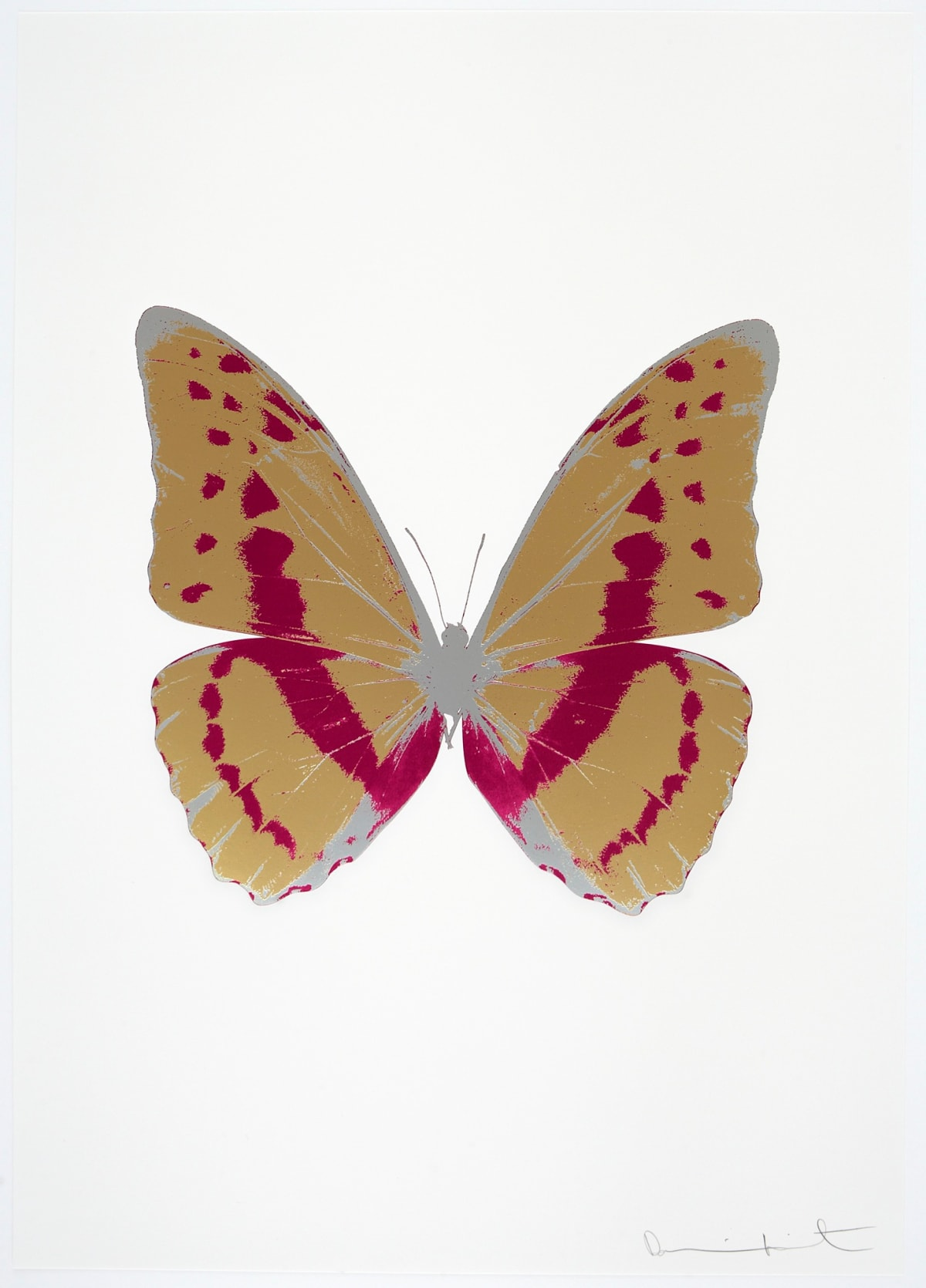 Damien Hirst The Souls III - Hazy Gold/Fuchsia Pink/Silver Gloss, 2010 3 colour foil block on 300gsm Arches 88 archival paper. Signed and numbered. Published by Paul Stolper and Other Criteria 72 x 51cm OC7971 / 660-74 Edition of 15