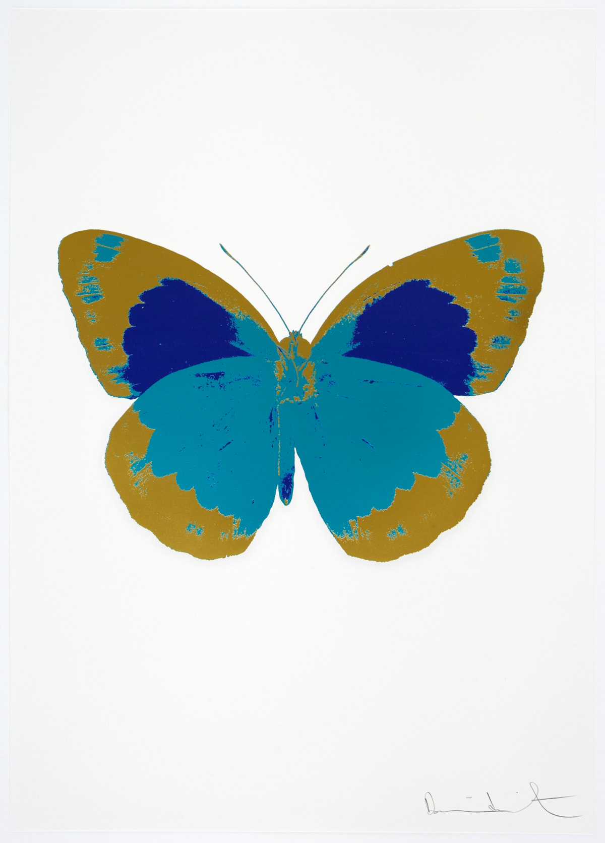 Damien Hirst The Souls II - Topaz/Oriental Gold/Westminster Blue, 2010 3 colour foil block on 300gsm Arches 88 archival paper. Signed and numbered. Published by Paul Stolper and Other Criteria 72 x 51cm OC7882 / 658-65 Edition of 15