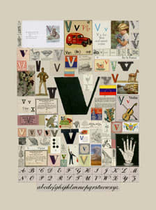 Peter Blake The Letter V, 2007 Silkscreen, embossing and glaze on Somerset satin 300gsm Signed and numbered 52 x 37.5 cm Edition of 60