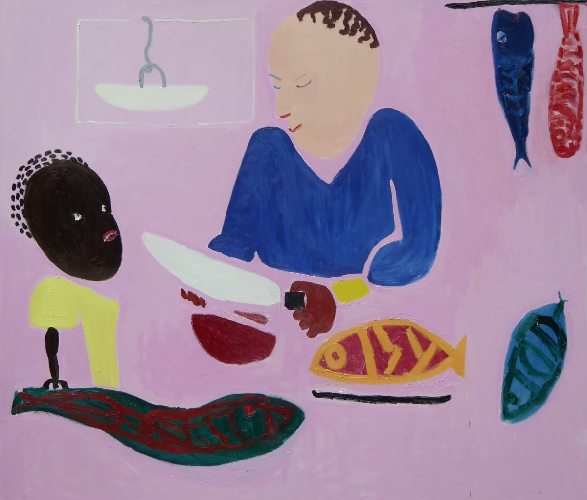 Georgia Hayes Chopping Fish, 2016 Oil on canvas. Signed on verso 183 x 214 cm