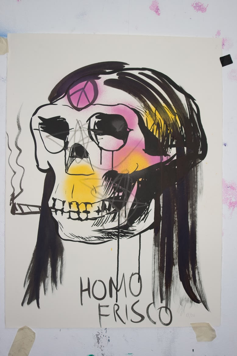 Shaun Doyle & Mally Mallinson Homo Frisco, 2011 Screen print, spray paint and gouache on paper. Signed and dated by the artists. 76 x 57 cm