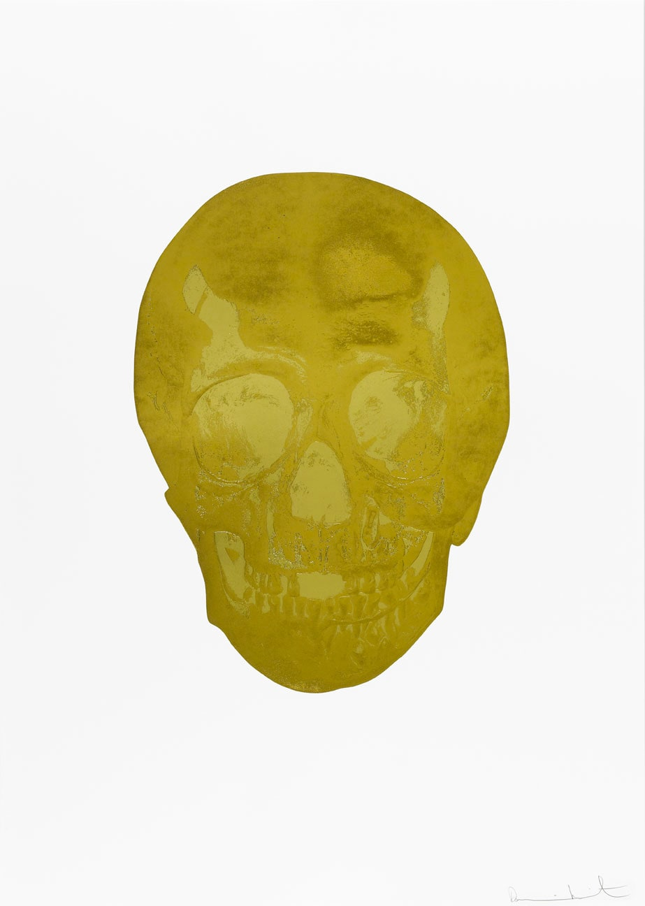 Damien Hirst Death Or Glory Oriental Gold/Sunset Gold Glorious Skull, 2011 2 colour foil block on 300gsm Arches 88 archival paper. Signed and numbered. Published by Paul Stolper and Other Criteria. White aluminium powder coated frame. 72 x 51 cm; Framed 76.8 x 55.8 cm OC8364 Edition of 2