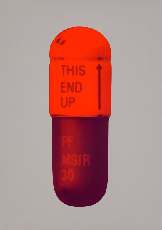 Damien Hirst The Cure - Battleship Grey/Fizzy Orange/Berry, 2014 Silkscreen on Somerset Tub Sized 410gsm. Signed and numbered. Published by Paul Stolper and Other Criteria. 72 x 51 cm OC10231 / DHP18623 Edition of 15