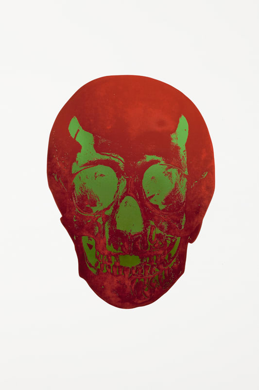 Damien Hirst Chilli Red/Lime Green Skull, 2009 2 colour foil block on 300gsm Arches 88 archival paper. Signed and numbered. Published by Paul Stolper and Other Criteria 72cm x 51cm Edition of 15