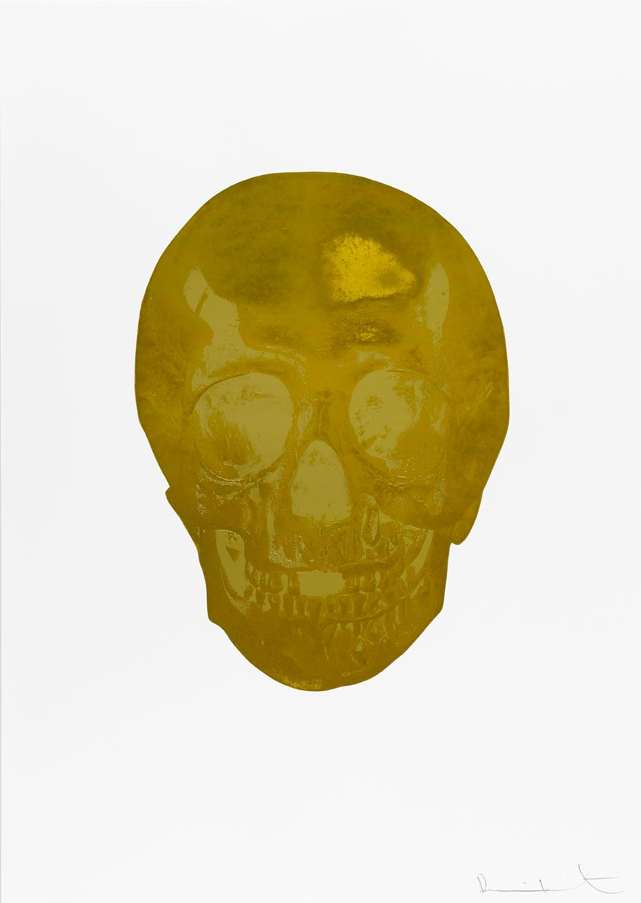 Damien Hirst Death Or Glory Luxury Gold/Hazy Gold Glorious Skull, 2011 2 colour foil block on 300gsm Arches 88 archival paper. Signed and numbered. Published by Paul Stolper and Other Criteria. White aluminium powder coated frame. 72 x 51 cm; Framed 76.8 x 55.8 cm OC8384 Edition of 2